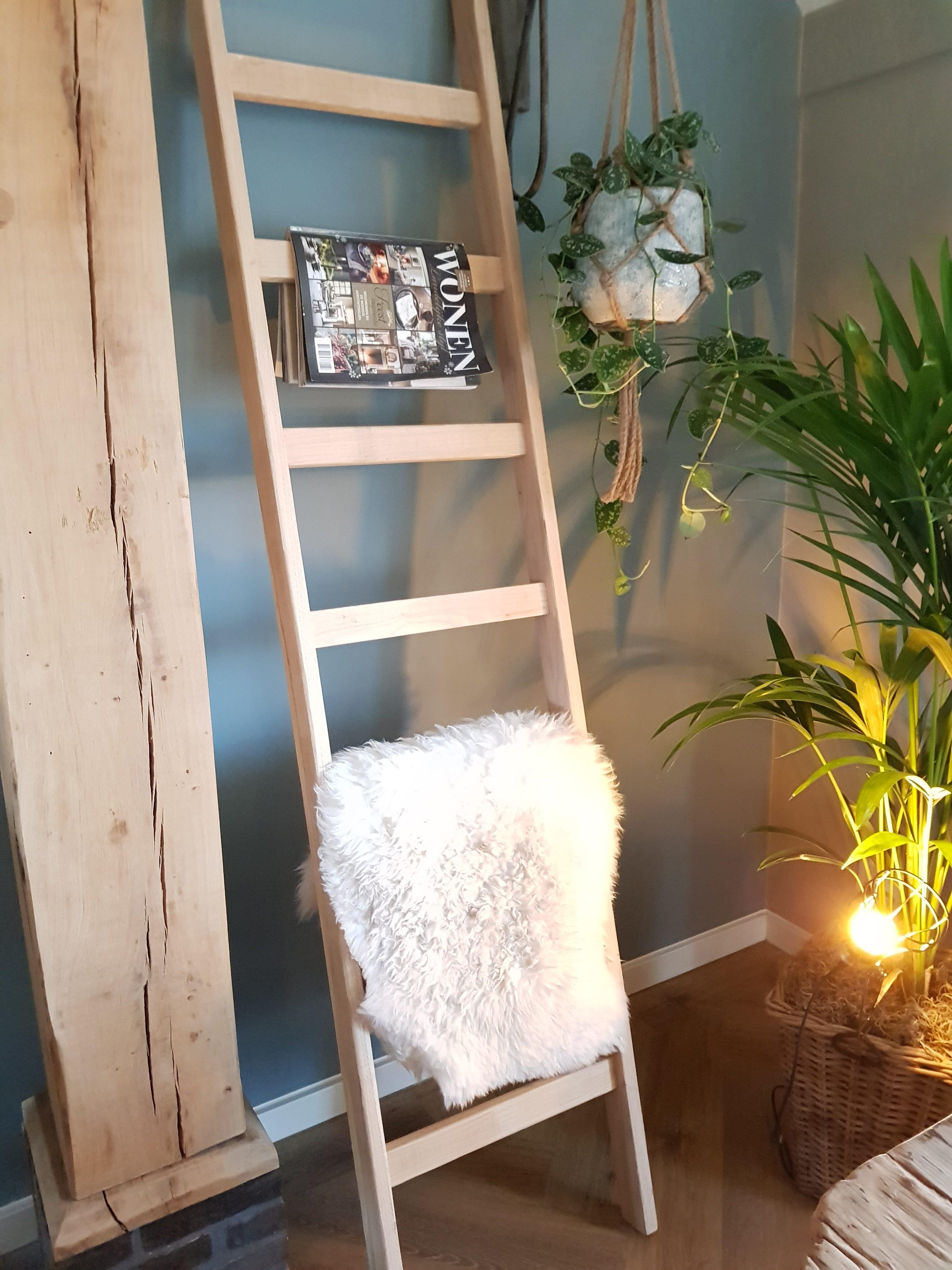 Houten decoratie trap ladder 160 cm for Houten decoratie